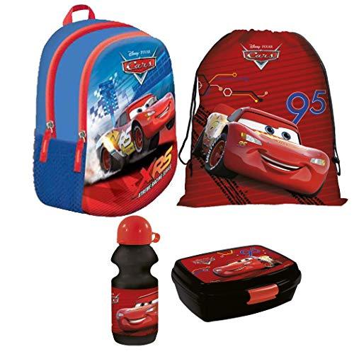 Disney Cars Auto Kindergarten Rucksack Set 4 Teile Brotdose Trinkflasche Turnbeutel inklusive Sticker-von-Kids4shop Tasche