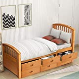 Twin Size Wood Platform Bed Captain Storage Bed with 6 Drawers Kids Bedroom Furniture (Oak)