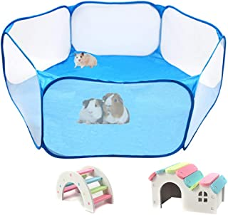 Hamster Foldable Exercise Playpen, Breathable and Transparent Pet Playpen, Indoor/Outdoor Cage Small Animal Fence for Syri...