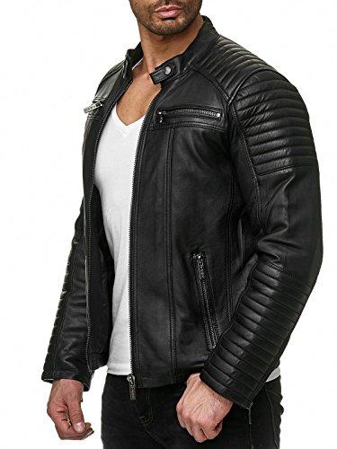 Redbridge Chaqueta de Hombres Cuero Sintético Moda Casual Negro S