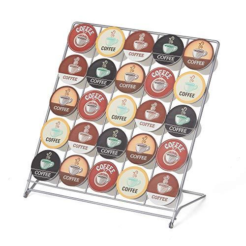 Nifty – Rack de armazenamento de cápsulas de café – aço revestido com pó, suporte de 25 cápsulas de dose única, dobra plana, organizador de balcão de cozinha para casa ou escritório, design leve
