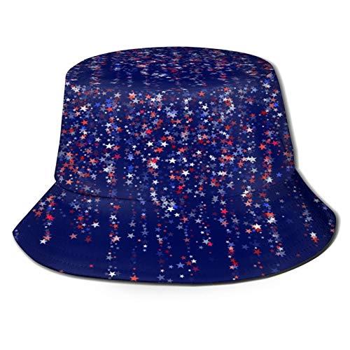 Yoliveya Sombrero de Pesca,Fondo del día de la Independencia Americana con guirnaldas Colgantes,Senderismo para Hombres y Mujeres al Aire Libre Sombrero de Cubo Sombrero para el Sol