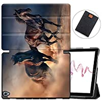 MAITTAO Compatible with Huawei MediaPad M6 10.8 2019 Case, Slim Leather Folio Smart-Shell Stand Cover with Auto Wake/Sleep for Huawei Mediapad M6 10.8 Inch 2019 Released Tablet, Akhal-Teke Horse 17