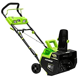 Image of Earthwise SN74018 Cordless Electric 40-Volt 4Ah Brushless Motor, 18-Inch Snow Thrower, 500lbs/Minute, With LED spotlight (Battery and Charger Included): Bestviewsreviews