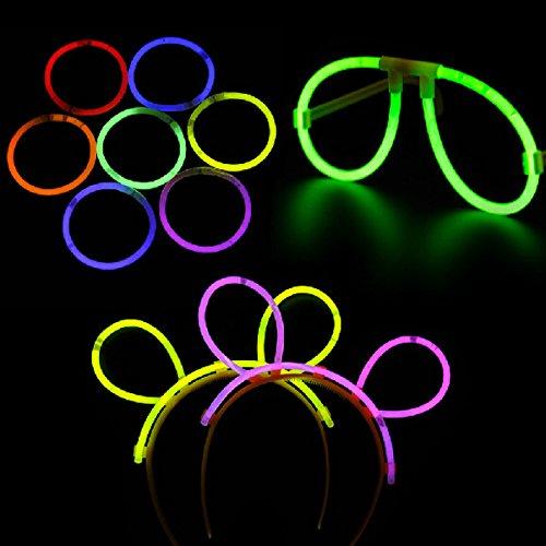 Pixnor 4pcs drôle multicolore Fluorescent lunettes lunettes 4pcs Glow bandeaux avec connecteurs 100pcs pour Party Festival