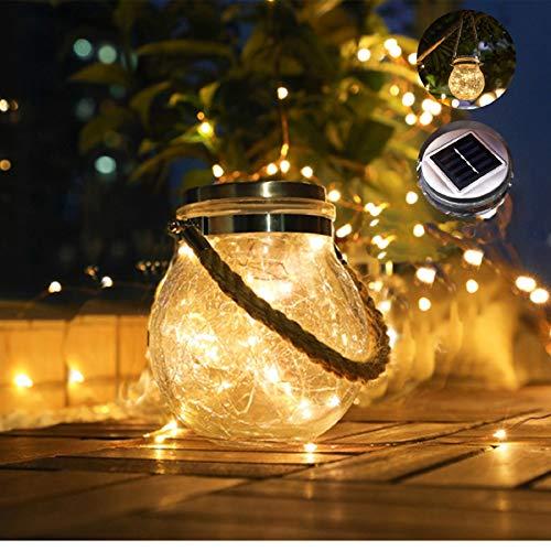 ANGMLN 2 Pack Luces De Jardín Solar 30 LED Luz Blanco Cálido IP65 Impermeable Exterior Solar Decoración Lámpara Jar Iluminación Para Terraza, Césped, Patio, Fiesta,Camino de Entrada, Escaleras