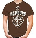 Hamburg Anker Männer und Herren T-Shirt   Stadt Reeperbahn Anchor     (XL, Braun)