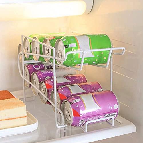 Dispensador de latas, bandeja de almacenamiento para nevera estantería de almacenamiento moderno para sodas y cajas de conserva, almacenamiento de cocina de metal para el frigorífico o el armario