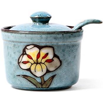 DoDola Ceramics Retro Flower Sugar Bowl with Lid and Spoon 5.5 Ounces Blue