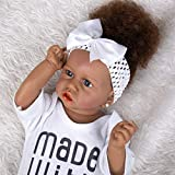 Meacety Full Silicone Reborn Baby Dolls with Lifelike African American 22.8 inches Girl Doll Weighted Newborn Dolls Gift Set,Blue Eyes