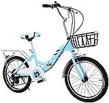 Sooiy Bicicleta Plegable 20 Pulgadas Bicicleta de Adulto Plegado de Ultra Bicicleta portátil Velocidad la Escuela de Plegado rápido de la Bicicleta de la Bicicleta de una Sola Velocidad,Azul
