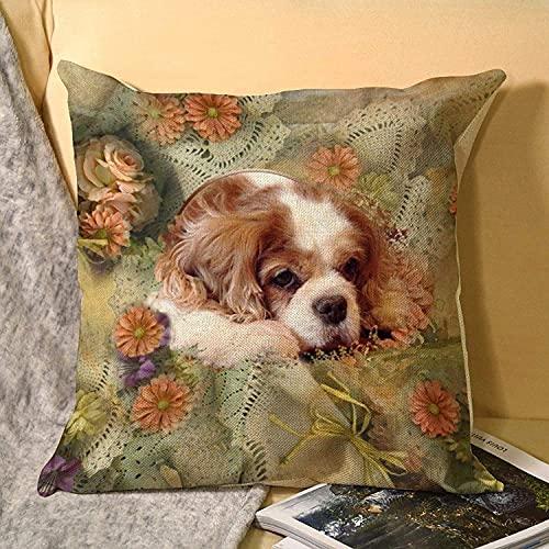 MODORSAN Funda de cojín cuadrada de lino tamaño estándar años 70, estilo hippie y floral, 48 x 48 cm, para el hogar, el sofá, el coche o la oficina