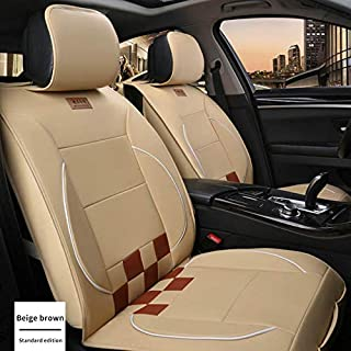 Maite PU Leather Car Seat Covers Cushions 5 Seats Full Set for Hyundai i10 i20 i30 i40 ix20 ix35 Front Rear Seat Pad Protectors (Beige and Brown)