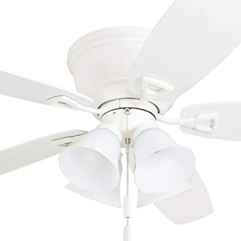 Honeywell 50520 Quick 2 Hang Hugger Ceiling Fan 52 Dimmable Led Light Frosted Fixtures Easy Installation White Maple Blades White Amazon Com