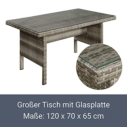 ArtLife Polyrattan Sitzgruppe Lounge Santa Catalina beige-grau – Gartenmöbel-Set mit Eck-Sofa & Tisch – bis 6 Personen – wetterfest & stabil - 5