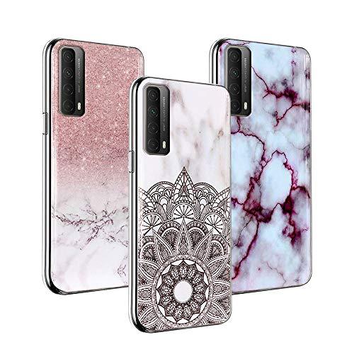 3x Funda para Huawei P Smart 2021 Marble Funda de silicona suave, Funda flexible de TPU para teléfono celular [Ultra delgada] [A prueba de golpes] Funda protectora de...
