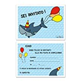 Inviti Compleanno Set di 10 Cartoline Biglietti invito per festa compleanno Squalo Per Bambini e Adulti in Italiano - Pesci Mare - adatto per feste bambini - maschio ragazzi maschi - 14,8 x 10,5 cm