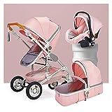 Cilla y capazo bebe,plegable Cochecito para dormir de Bassinet convertible 3 en 1 Cochecito de aluminio de aluminio plegable de alto paisaje, cochecito de lujo para bebés anti-shock Springs Pram con c