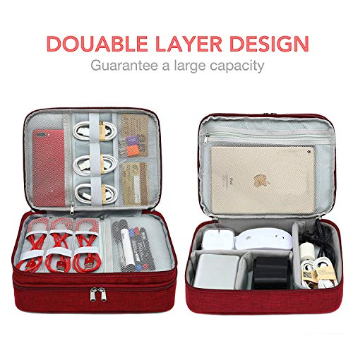 Alena Culian Double Layer Electronic Organizer with Cable Straps, Travel Universal Cable Organizer Electronics Accessories Cases for Cable, Charger, Phone, USB, SD Card (Red)