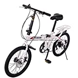 TANGNADE Travel Bike 7-Speed Folding Mountain Bike Off-Road Students Adult Men and Women Race Bike Commuter Foldable Compact Suspension Bicycle