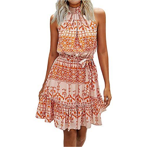 Frauen Sommer ärmelloses Kleid Blumen Halfter Trägerloses Rüschenkleid Teens Lässig Lose Minikleid Kurzes Kleid Cocktailkleid Tunika Kleid Hemden Tops Kleid (Orange, L)
