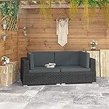 UnfadeMemory Conjunto de Sofá Jardin Exterior con Cojines 2 Pzas,Asiento Seccional de Esquina,Ratán PE (Negro)