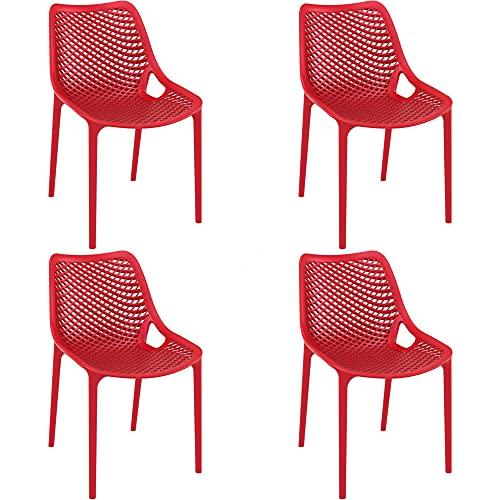 RESOL Grid Set 4 Sillas de Jardín Apilables y Respaldo Ventilado | Terraza, Patio, Balcón, Comedor Exterior | Ligera y Resistente | Diseño Moderno - Color Rojo