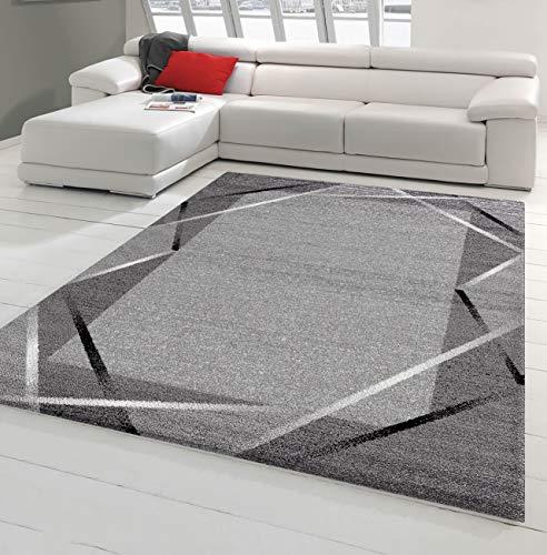 NAZAR Tapis de Salon Moderne avec Bordure - Collection SAN - Différente Couleur et Taille (Gris, 200 x 280 cm)