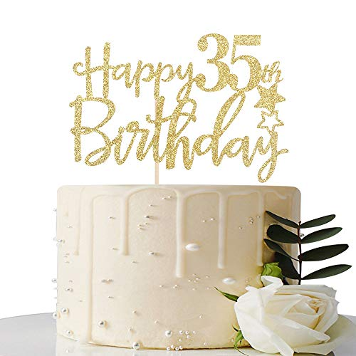 Gold Glitter Happy 35th Birthday Cake Topper,Hello 35, Cheers to 35 Years,35 & Fabulous Party Decoration