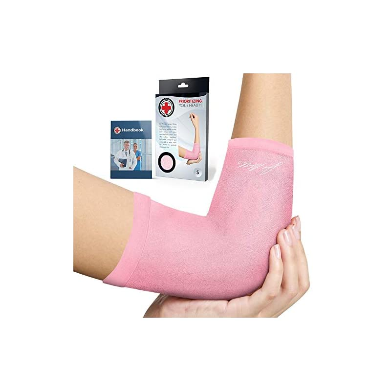 Doctor Developed Ladies Pink Elbow Compression Sleeve for Women and Doctor Written Handbook- RELIEF from Tennis/Golfers…