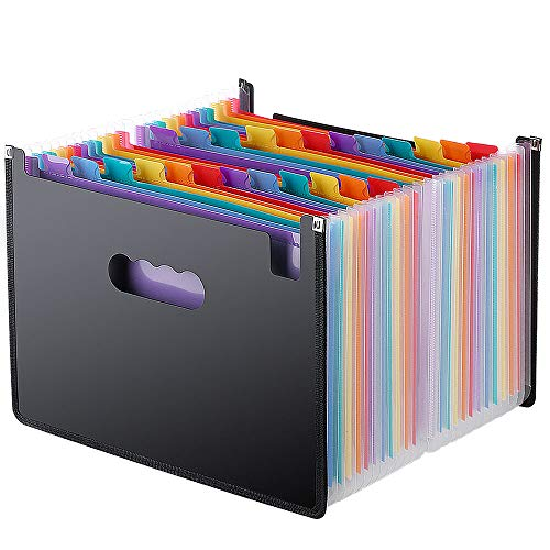 Expanding File Folder 24 Pockets, Multi-Color Accordion A4 Document Organizer with Expandable Wallet Stand