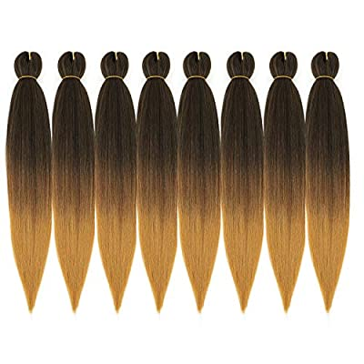 Ombre Pre Stretched Braiding Hair, Top Silky Color Blend Braid Hair Extensions, 100% Kanekalon Synthetic Crochet Hair Braids, Yaki Texture Hair Braiding 0.21LB/bundle