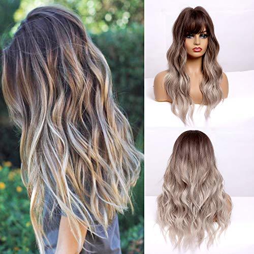 CAUGHTOO Ombre Ash Blonde Wig With Bangs Long Wavy Wigs for Women Ombre Ash Blonde Wig With Bangs Synthetic Wigs Long Natural Wave Heat Resistant Hair Wigs for Daily Party Cosplay (Ombre Ash Blonde)