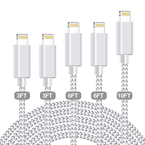MFi Certified Phone Charger, WUYA [3/3/6/6/10ft, 5Pack] Lightning Cable Lead Nylon USB Fast Charging...