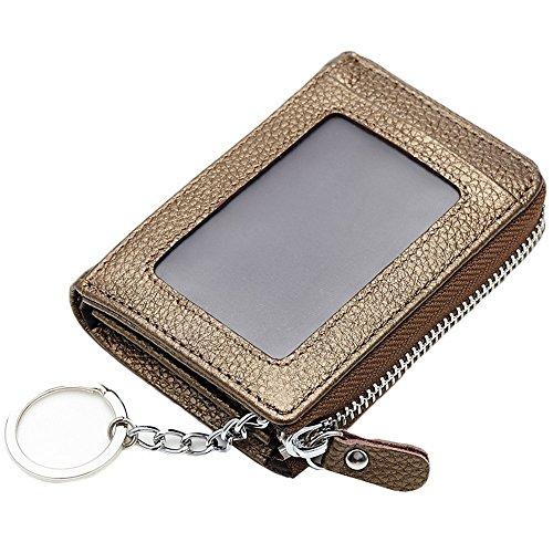 Anshili Unisex Leder Schlüsselmappe Kartenbeutel Geldbeutel mit ID-Fenster (Gold)