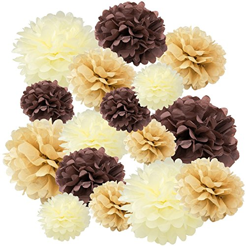 """Floral Reef Variety Set of 16 (Assorted Soft Brown Color Pack) consisting of 8"""" 10"""" 14"""" Tissue Paper Pom Poms Flower"""