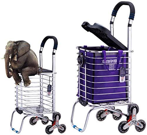 Equipo para el hogar Portátil 6/8 Ruedas Escaleras para subir Carrito de la compra Carrito Trolley de aluminio Furgonetas para el hogar de tres ruedas Ligeras y plegables - Morado (pcs1) (color: 8