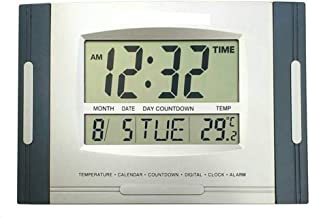 Gorevizon Stylish Wall Cum Desk Clock with Temperature Display Blue and Silver 18cmX12cm