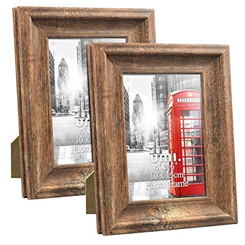 Umi. Essentials - Marcos de Fotos Rústicos de Madera para Sobremesa o Pared, 10 x 15 cm Juego de 2