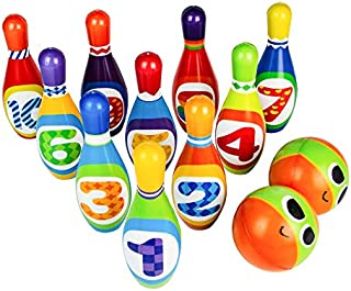 Bowling Set Toy 10 Colorful Soft Foam Bowling Pins 2 Balls Indoor Toys Toss Sports Developmental Game for Active Kids Children Toddlers Boys Girls Preschooler 3 4 5 6 Years Old