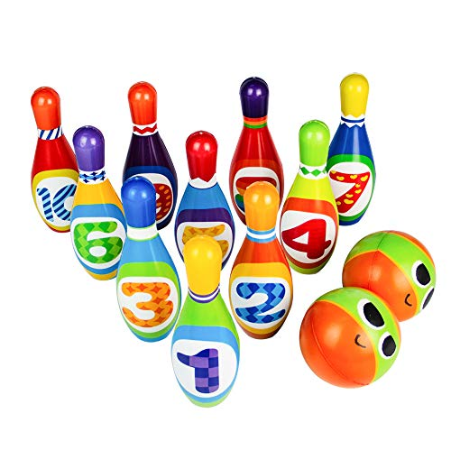 Review Bowling Set Toy 10 Colorful Soft Foam Bowling Pins 2 Balls Indoor Toys Toss Sports Developmen...