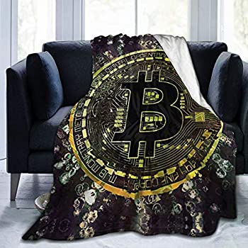 pengyong Throw Blanket Gold Bitcoin Art Ultra-Soft Micro Fleece Bed Blanket for Bed Sofa Couch Living Room Beach Picnic Fall Spring Winter Use Throw Blanket  60 X 50