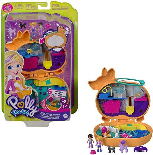 Polly Pocket Cofanetto Coccole Amici a 4 Zampe, con 2 Micro Bambole, Cagnolini e Accessori, Giocattolo per Bambini 4+Anni, GTN13