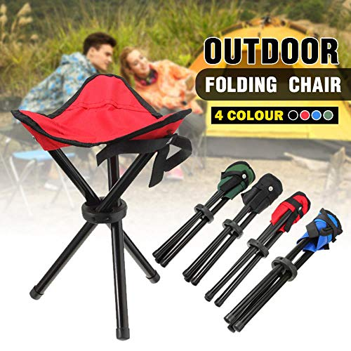 Outdoor portable lightweight Camping Hiking Fishing Folding Picnic Garden BBQ Stool Tripod Three feet Chair Seat 4 color option,Blue