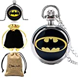 The Dark Knight Reloj de Bolsillo para Hombre, Batman Colgante Reloj de Bolsillo para niño, Collar pequeño Cadena de Plata Reloj de Bolsillo para Adolescentes
