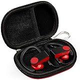 RISETECH Earbud Storage Case Earphone Hard Case Waterproof EVA MP3 Player Case Wireless Headphone Small Pouch for BeatsX Powerbeats3, Jaybird X3 X4 Tarah, Bose soundsport, with Carabiner - Red