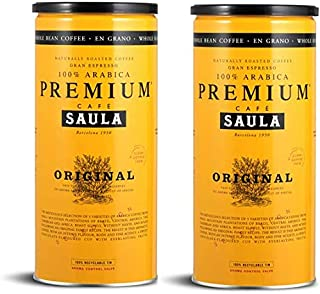 Café en grano Saula, Pack 2 botes de 500 gr. Premium Original 100% arabica