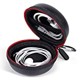 Hard Headphone Case - GLCON Portable Small Earbud Case Earphone Zipper Pouch with Carabiner - Protective Carrying Case Storage Bag for Airpods iWatch Samsung Galaxy Buds Headset Charging Cable Adapter