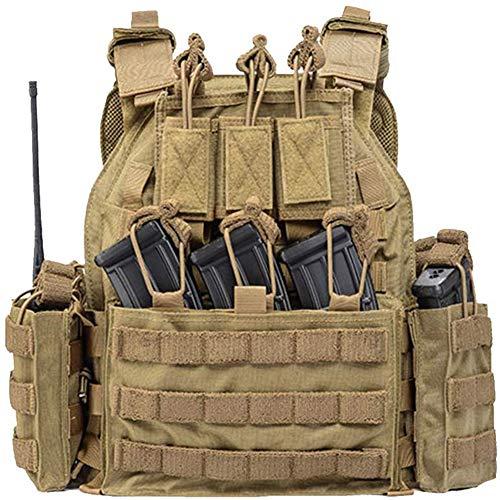 WLXW Chaleco Táctico de Airsoft, Militar Al Aire Libre Ejército Poliéster Juego de Guerra Caza Chaleco de Excursión Que Acampa, Nylon Ajustable Molle Chaleco Caza Excursión Acampa,Tan