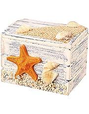VOSAREA Mediterráneo - Mini caja de almacenamiento de madera, organizador de joyas de oficina, caja del tesoro decorativo (diseño de estrella de mar)